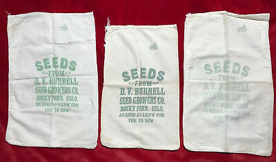 Lot Of 3 Vintage D.V. Burrell Seed Growers Co. Cloth Seed Bags, Rocky Ford, CO