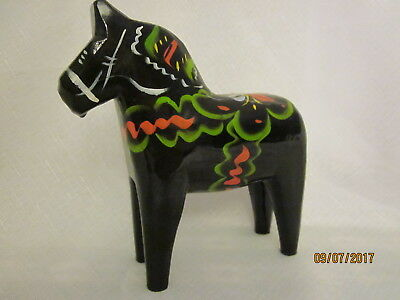 """6"""" Black Dala Horse, Beautiful Colors, Gently Used Condition"""