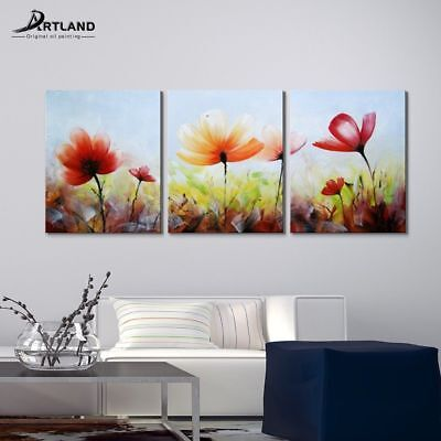 Flower Oil Painting Colorful Hand paint Canvas Wall Art for Lving Room Decor Red