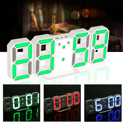 Digital LED Modern Table Desk Night Wall Clock Alarm Watch 24/12 Hour Display