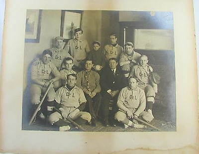 "Vintage Antique Old Turn Of Century Large Baseball Team Photo  14"" X 17"""