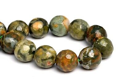 """8MM Natural Rainforest Rhyolite Grade AA Micro Faceted Round Loose Beads 7"""""""