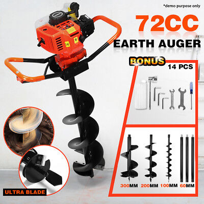 72cc Petrol Earth Auger Digger Post Hole Borer Ground Drill 3 Bits+3 Extension
