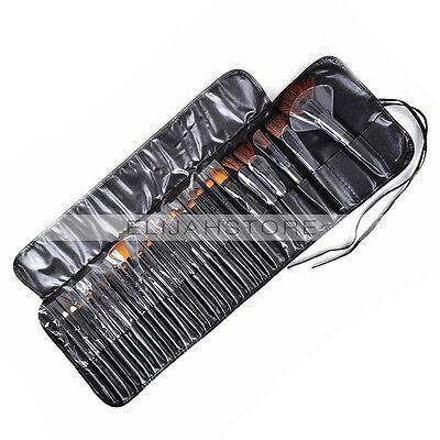High Quality 32pcs Makeup Brush Set Cosmetic Brushes Kit Black&Pouch Leather Bag