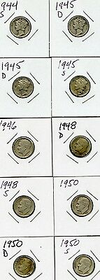 Lot of 10 Mixed Dimes: 1944S - 1950S - 90% silver circulated.  See description.