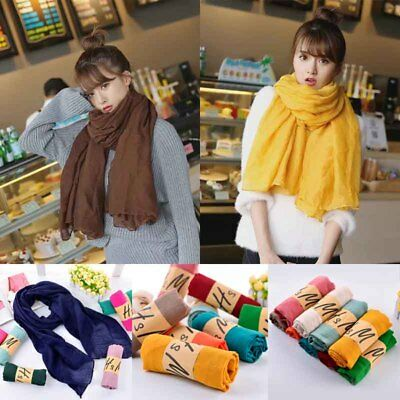 30 Colors Girls Ladies Womens Long Scarf Wrap Shawl Scarves Candy Solid Fashion