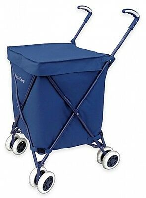 Folding Utility Cart Navy on Wheels Carrying Case Shopping Grocery Outdoor Bin