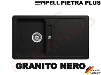Lavello Fragranite Incasso Cucina Apell PTSH861GB cm.86X50 1 Vasca Nero