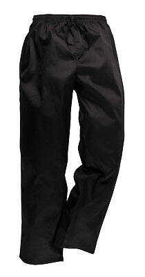 Chefs Trousers Drawstring Bottoms Black Portwest  C070