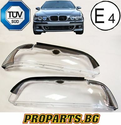 BMW E39 01-04 Saloon Estate Set Headlights Headlamps Lamp Lens Cover Glass