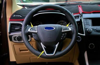 3PCS Silver Chrome Steering Wheel Molding Cover Trim For Ford Edge 2015-2016