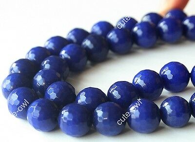 Natural 10mm Sapphire Blue Faceted Round Jade Gems Loose beads 15''AAA