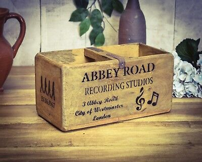 Vintage antiqued wooden box, crate, trug, Abbey Road Box