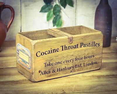 Vintage antiqued wooden box, crate, trug, Cocaine Throat Pastilles