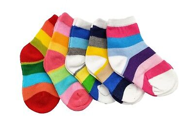 Baby Boys Girls Cotton Rich 5-pack Rainbow Striped Ankle Socks Age 1 to 12