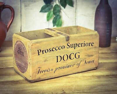 Vintage antiqued wooden box, crate, trug, Prosecco Box