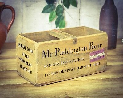 Vintage antiqued wooden box, crate, trug, Paddington Bear