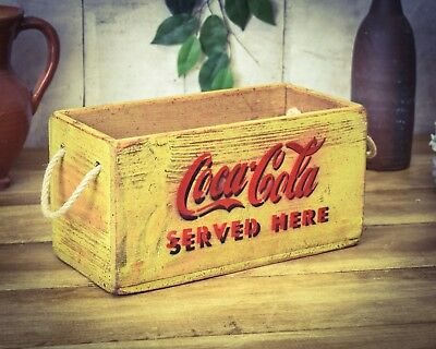 Vintage antiqued wooden box, crate, trug, Coke Cola Yellow USA Box