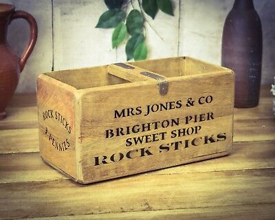 Vintage antiqued wooden box, crate, trug, Brighton Pier Box