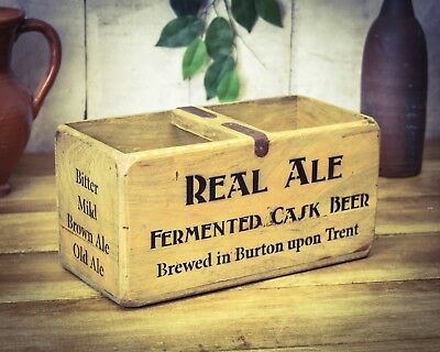 Vintage antiqued wooden box, crate, trug, Real Ale Box