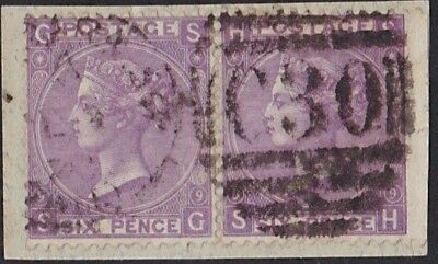 GB Used Abroad in VALPARAISO Chile  C30  6d. mauve pl.9 pair on piece.