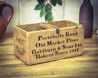 Vintage antiqued wooden box, crate, trug, Portobello Road Box