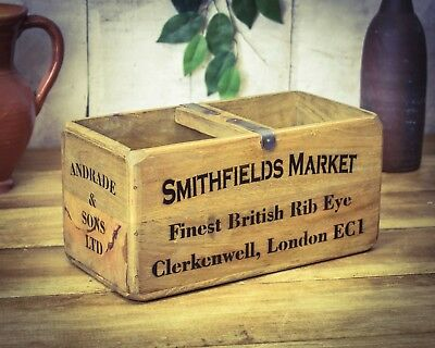Vintage antiqued wooden box, crate, trug, Smithfields Market Meat Box