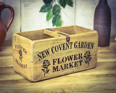 Vintage antiqued wooden box, crate, trug, Covent Garden Flowers Box