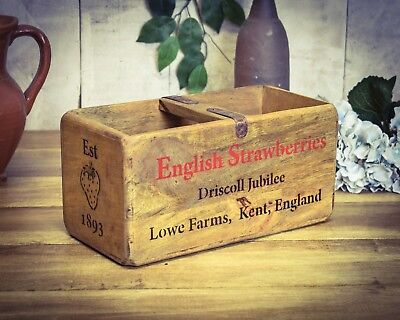 Vintage antiqued wooden box, crate, trug, Covent Garden English Strawberries Box