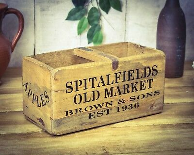 Vintage antiqued wooden box, crate, trug, Spitalfields Market Apples & Pears Box