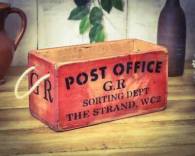 Vintage antiqued wooden box, crate, trug, Strand Post Office Sorting Box