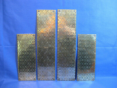 Four Antique Solid Brass Finger Plates Push Door With Lovely Decoration