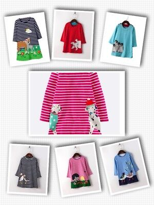 Girls Dress Age 5-6 Applique Jersey Dress UK Stock Fast Delivery