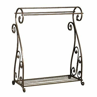 Bronze Finish Quilt Rack Blanket Stand Bedspread Storage Display Scrolled Iron