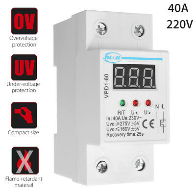 40A 220V Over And Under Voltage Protective Device Automatic Relay w/ Voltmeter