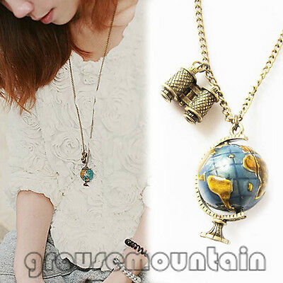 Globe Necklace Planet Earth World Map Art Pendant&Chain Women Globe BJC