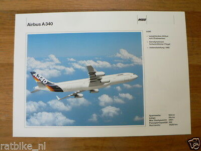O288 Brochure Flyer Airbus A340 Airplane German Language 2 Pages 1992 Model