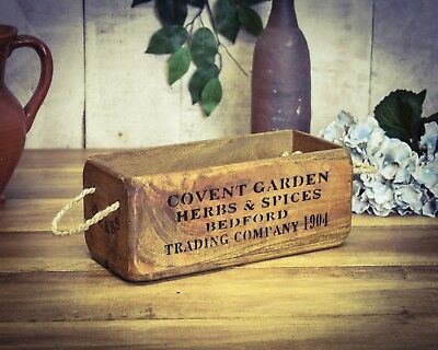 Vintage antiqued wooden box, crate, trug, SMALL BOX, Covent Garden, Herbs