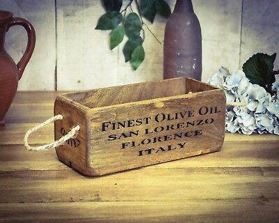 Vintage antiqued wooden box, crate, trug, SMALL BOX, Finest Olive Oil