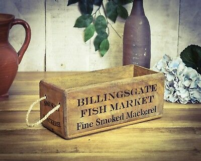 Vintage antiqued wooden box, crate, trug, SMALL BOX, Billingsgate Market