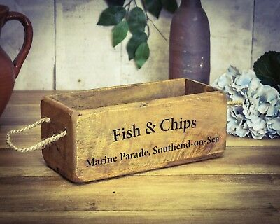 Vintage antiqued wooden box, crate, trug, SMALL BOX, Fish & Chips