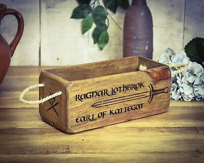 Vintage antiqued wooden box, crate, trug, SMALL BOX, Ragnar Lothbrok