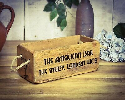 Vintage antiqued wooden box, crate, trug, SMALL BOX, Cocktail Bar