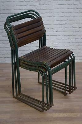 Set Of 4 Vintage Industrial Stacking 'Pel' Garden Cafe Bar Dining Chairs