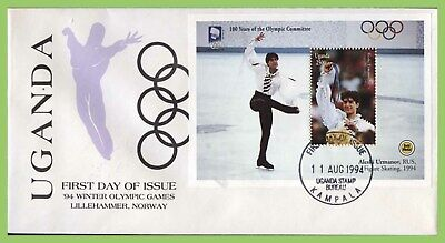 Uganda 1994 Figure Skating Olympics miniature sheet on First Day Cover