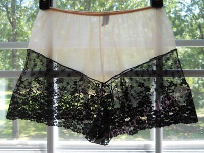 vtg GLYDONS ultra SHEER black CHANTILLY LACE burlesque TAP panty PANTIES P156