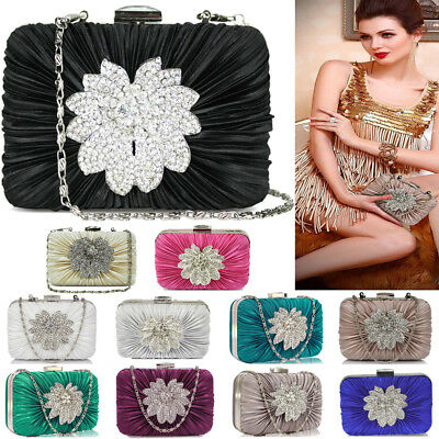 Womens Handbags Evening Prom Party Crystal Satin Diamante Bridal Clutch Bag New