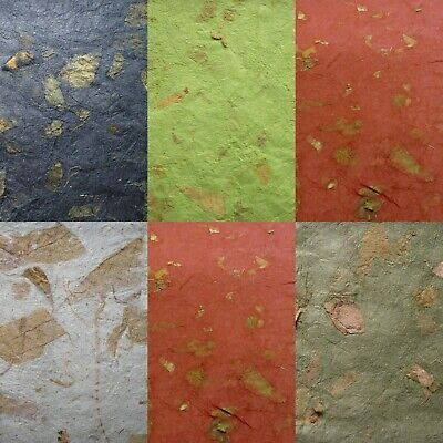 2 or 10 WHOLE SHEETS mulberry CRINKLE paper MANGO LEAF INCLUSIONS colour choice