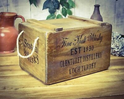 Vintage antiqued wooden box, crate,  Fine Whisky Chest