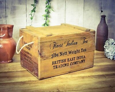 Vintage antiqued wooden box, crate, Indian Tea Chest
